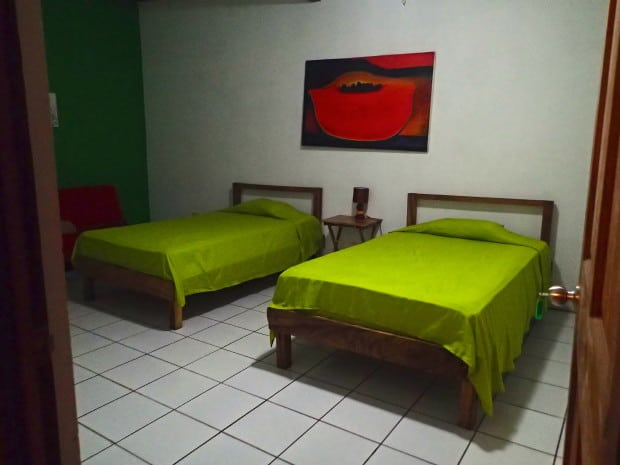 Our well kept, private room at Lay Back Hostel in El Tunco, El Salvador.