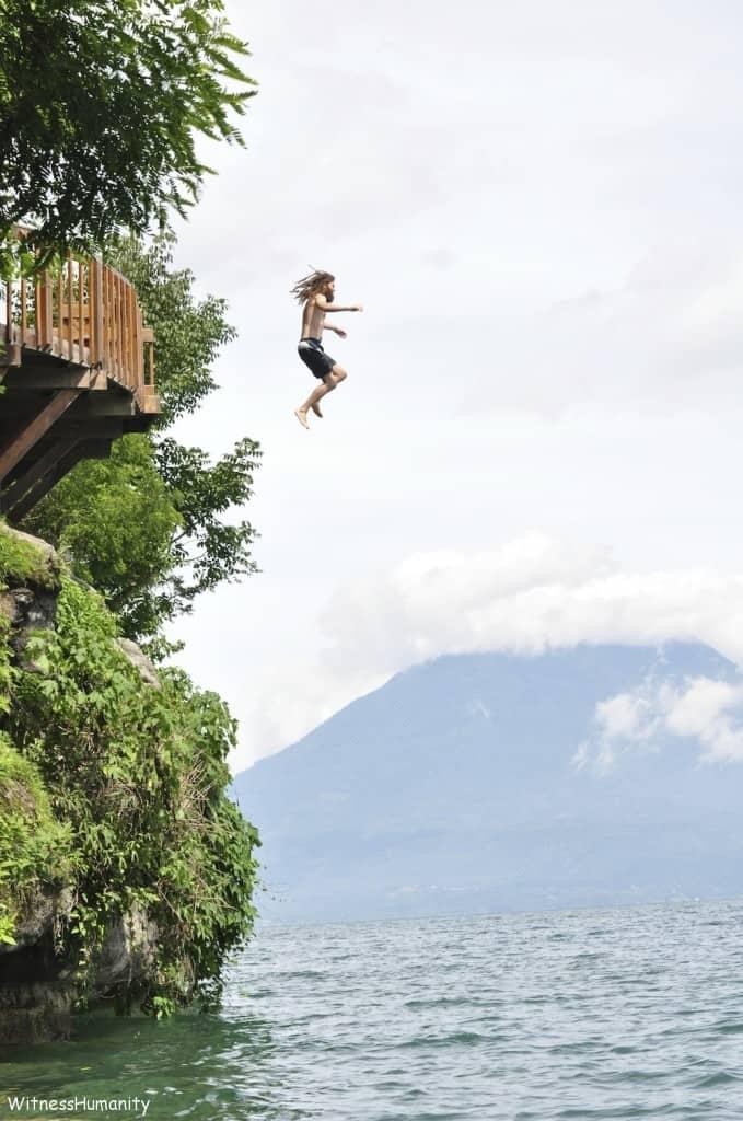 Jumping into Lake Atitlan